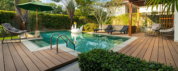 Swimming pool in tropical garden pool villa feature floating bal